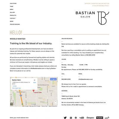 Contact - Bastian Salon - PSD to WordPress