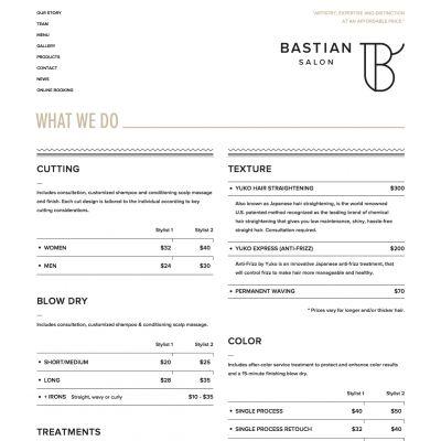Menu - Bastian Salon - PSD to WordPress