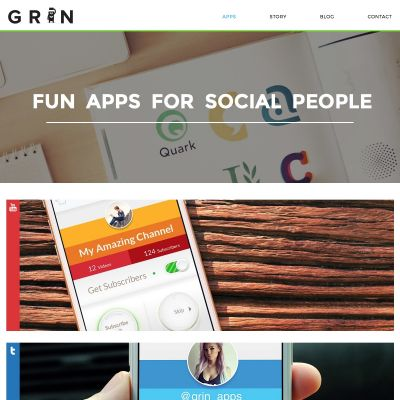 Grin Apps - Apps - PSD to WordPress