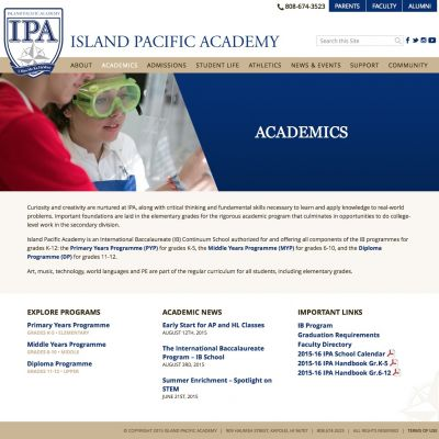 Academics - Island Pacific Academy - Custom WordPress Design
