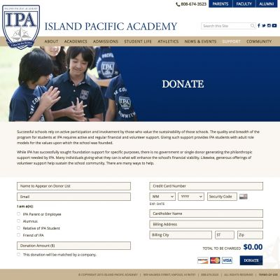 Donate - Island Pacific Academy - Custom WordPress Design