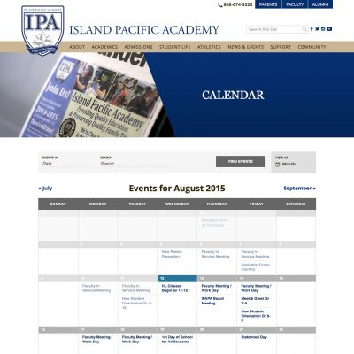 Island Pacific Academy - Events - Custom WordPress Design