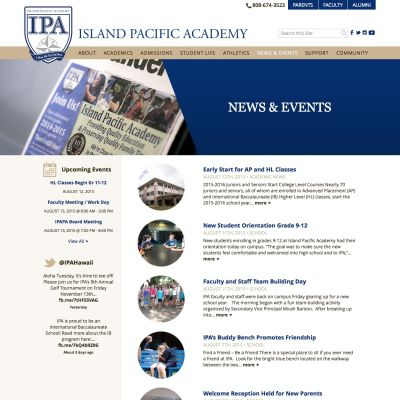 News and Events - Island Pacific Academy - Custom WordPress