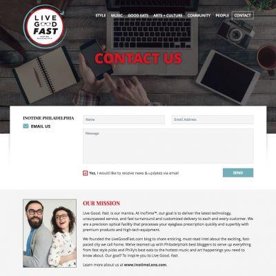 LiveGoodFast - Contact - PSD to WordPress