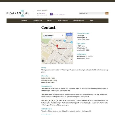 Contact - Pesaran Lab - PSD to WordPress