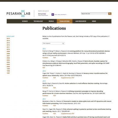 Pesaran Lab - Publications - PSD to WordPress