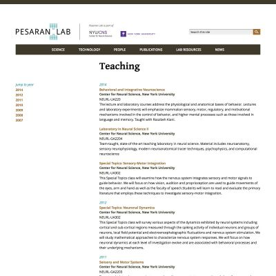 Pesaran Lab - Teaching - PSD to WordPress