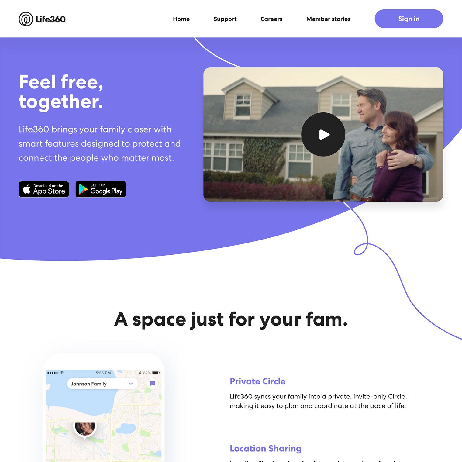 Screenshot of Life360 custom WordPress homepage