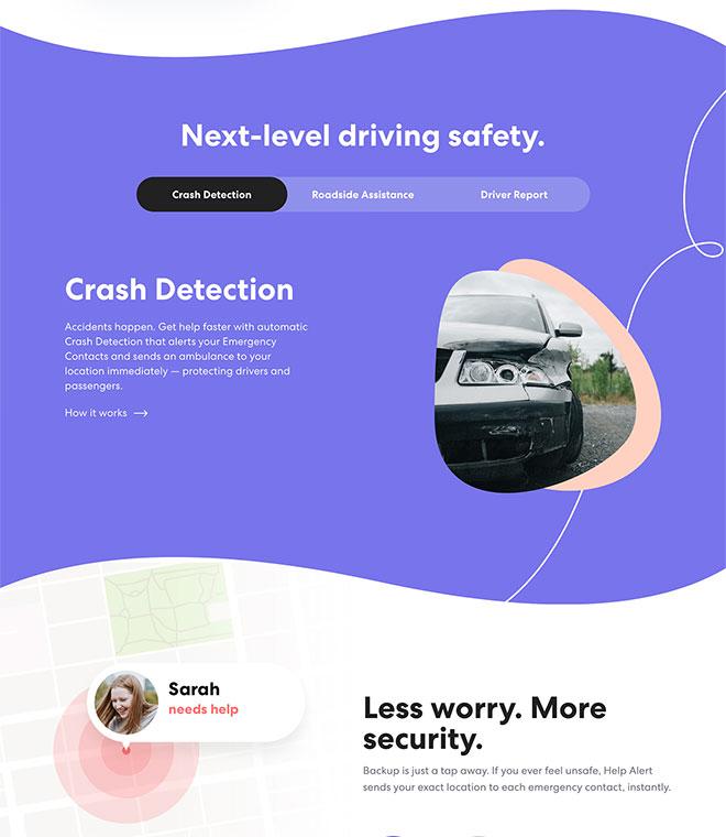 Extended screenshot of Life360 custom WordPress homepage