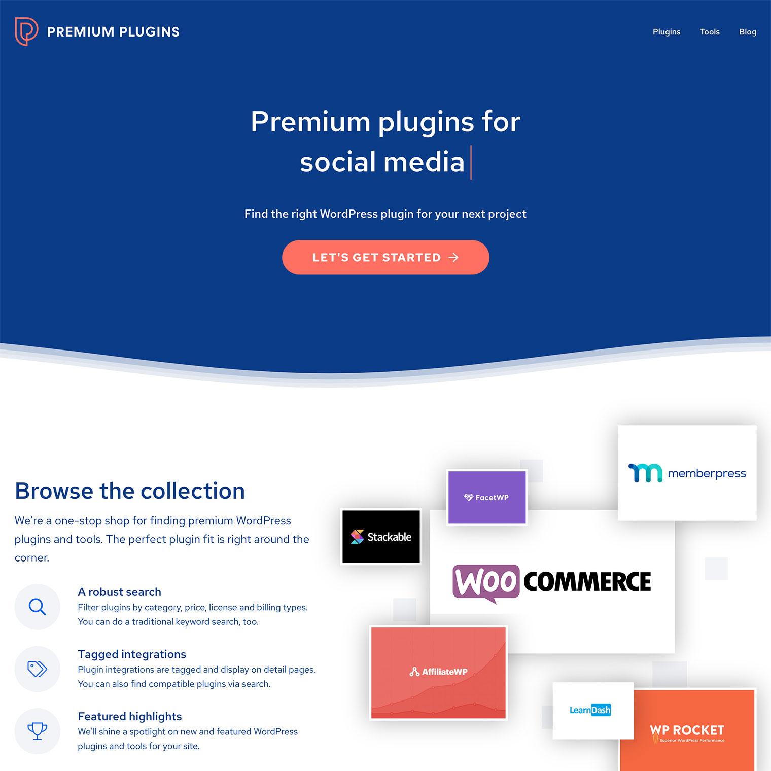 Screenshot of Premium Plugins homepage