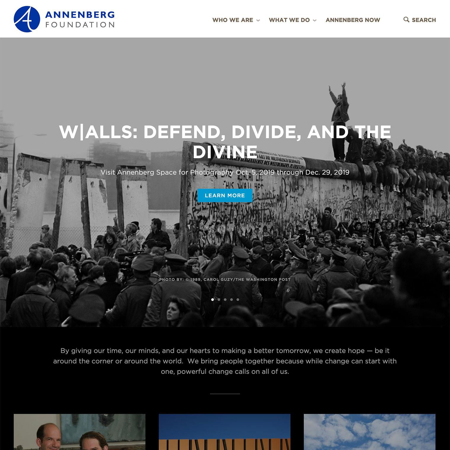 Screenshot of Annenberg Foundation WordPress conversion project's homepage