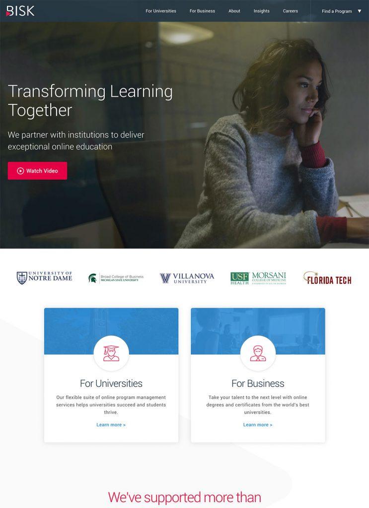Screenshot of Bisk's custom WordPress homepage