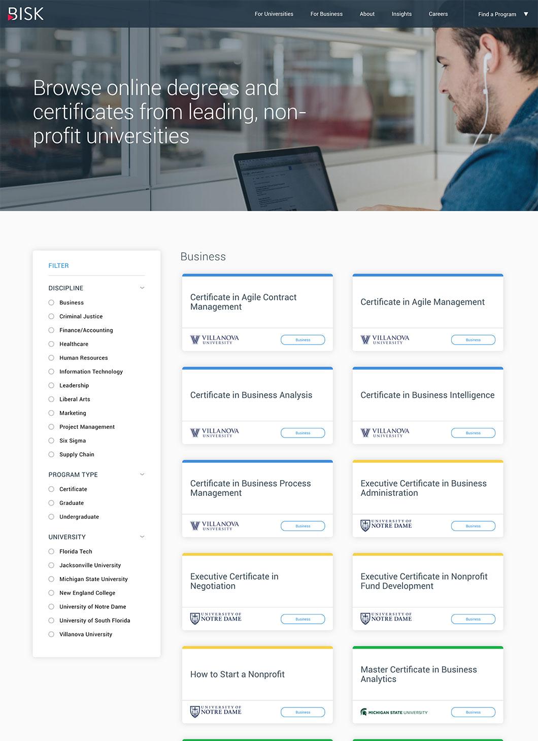 Screenshot of Bisk Find a Program custom WordPress template