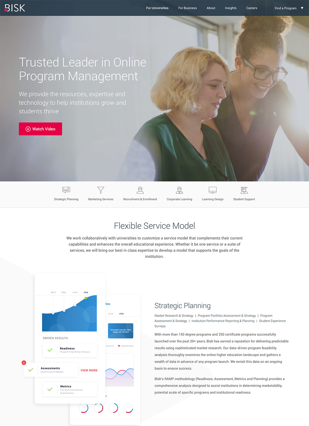 Screenshot of Bisk For Universities custom WordPress template