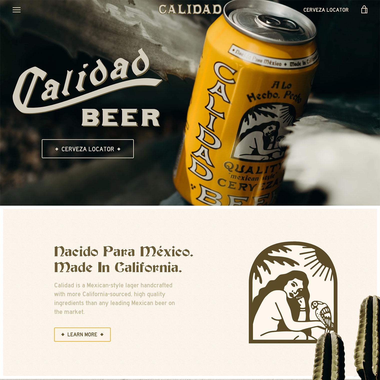 Screenshot of Calidad Beer custom Shopify homepage