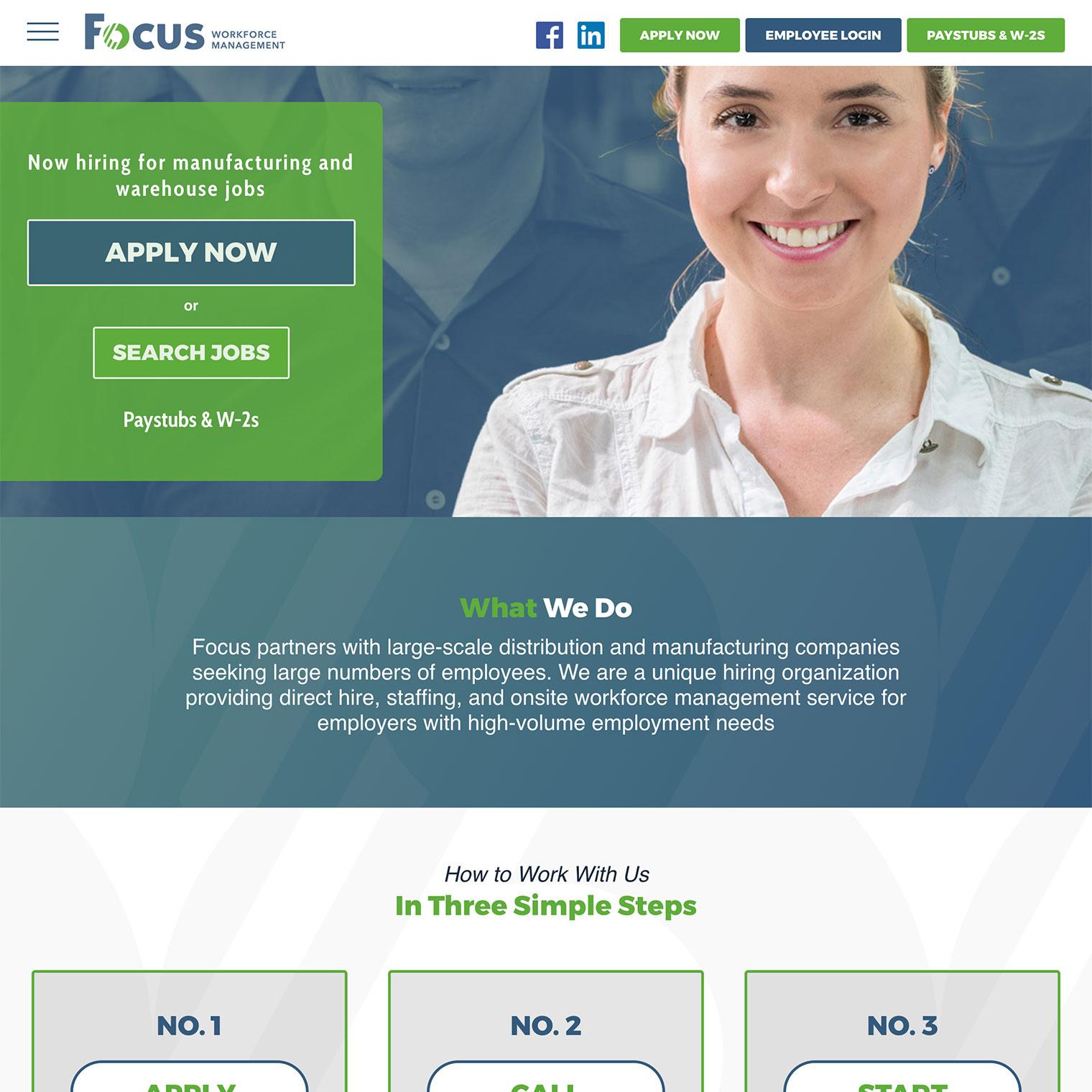 Screenshot of Focus Jobs WordPress rebuilt homepage