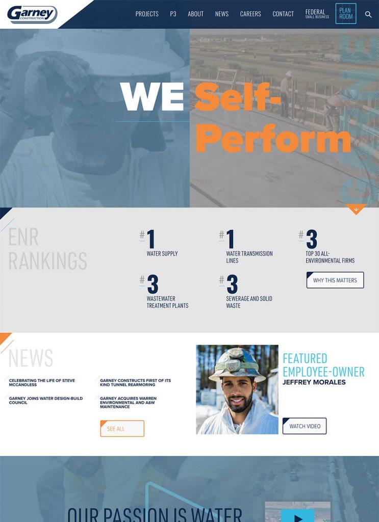 Screenshot of Garney Construction's custom WordPress homepage