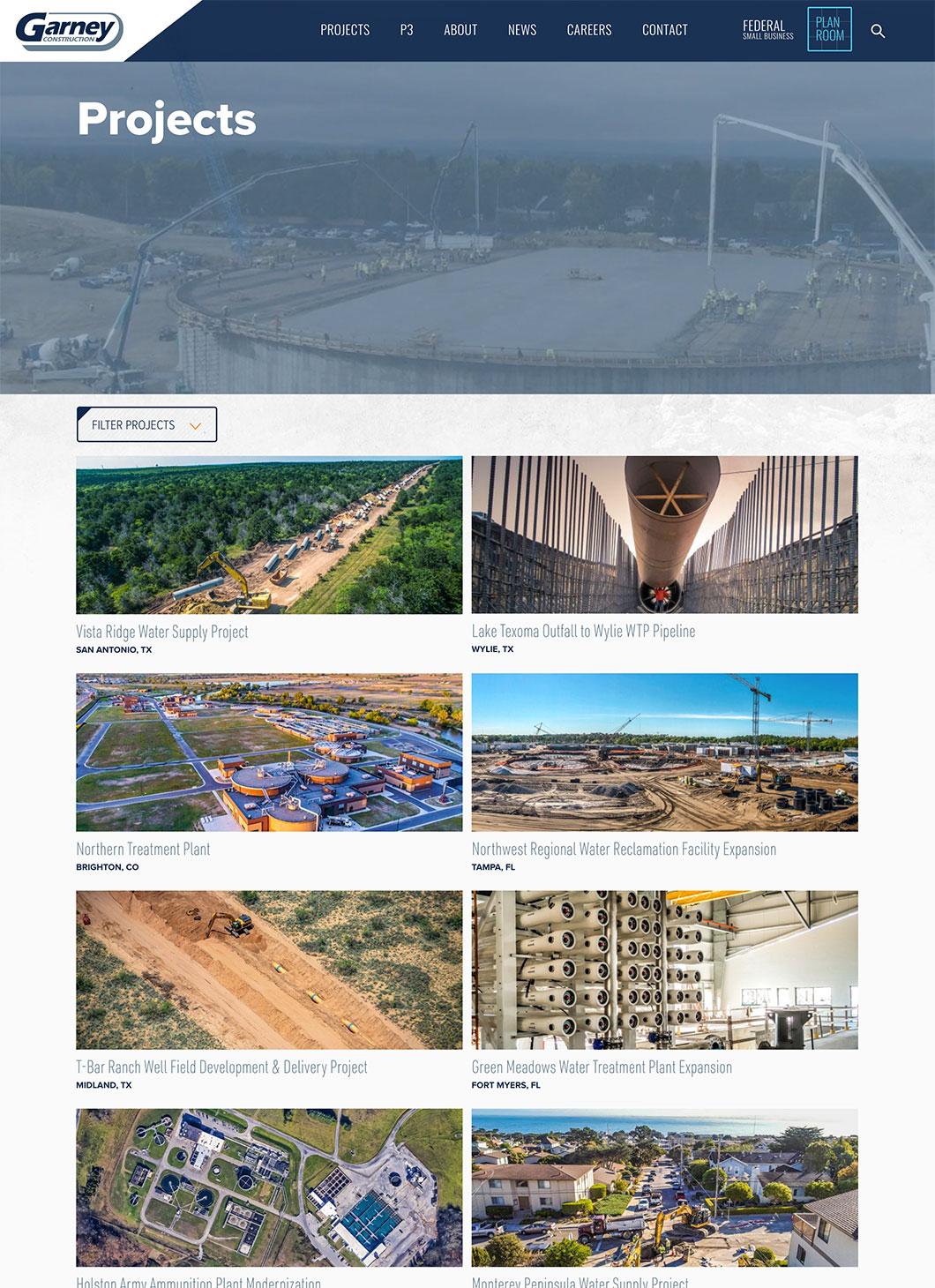 Screenshot of Garney Projects custom WordPress template