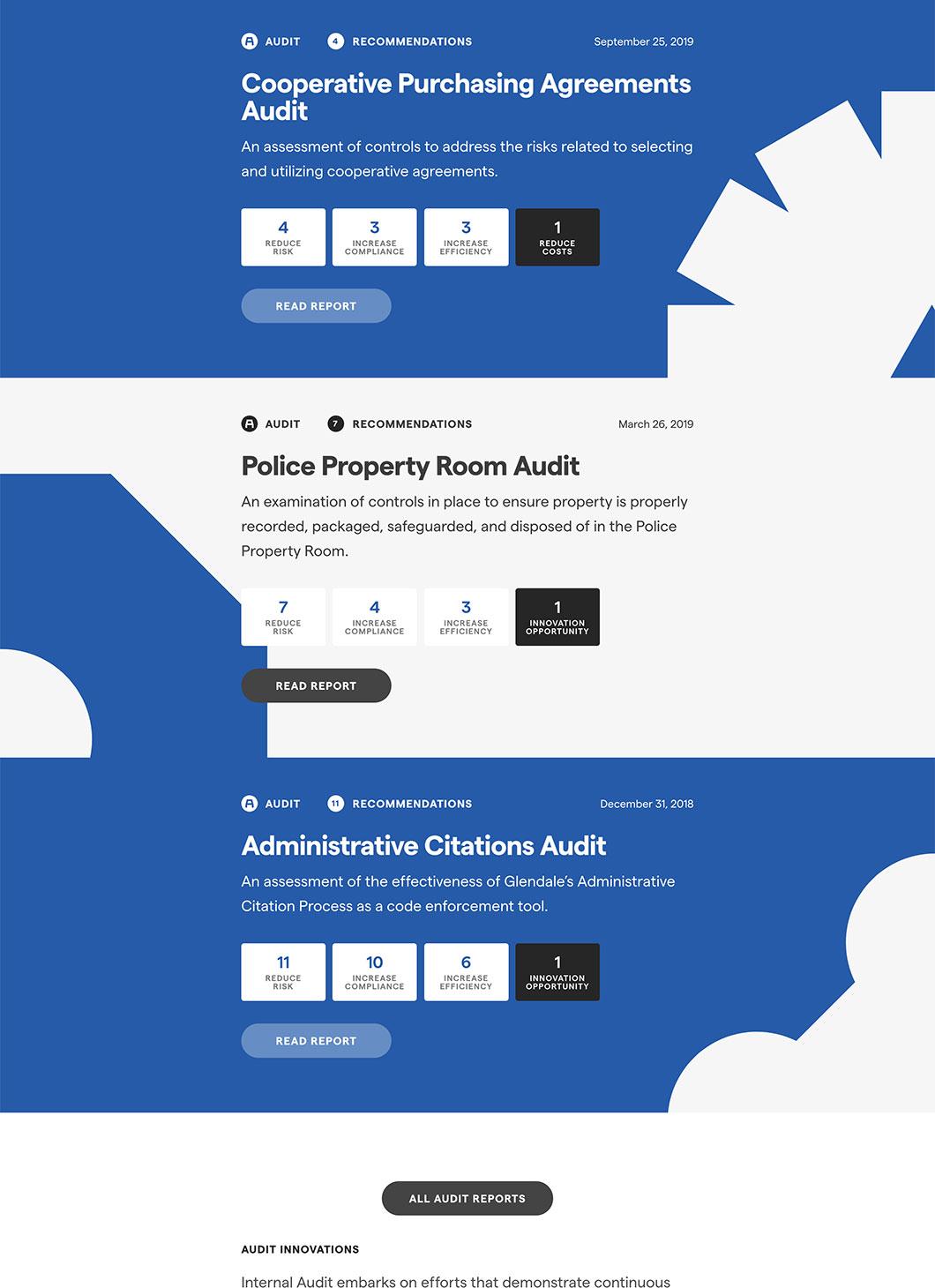 Screenshot of Glendale IPA Audit custom WordPress page