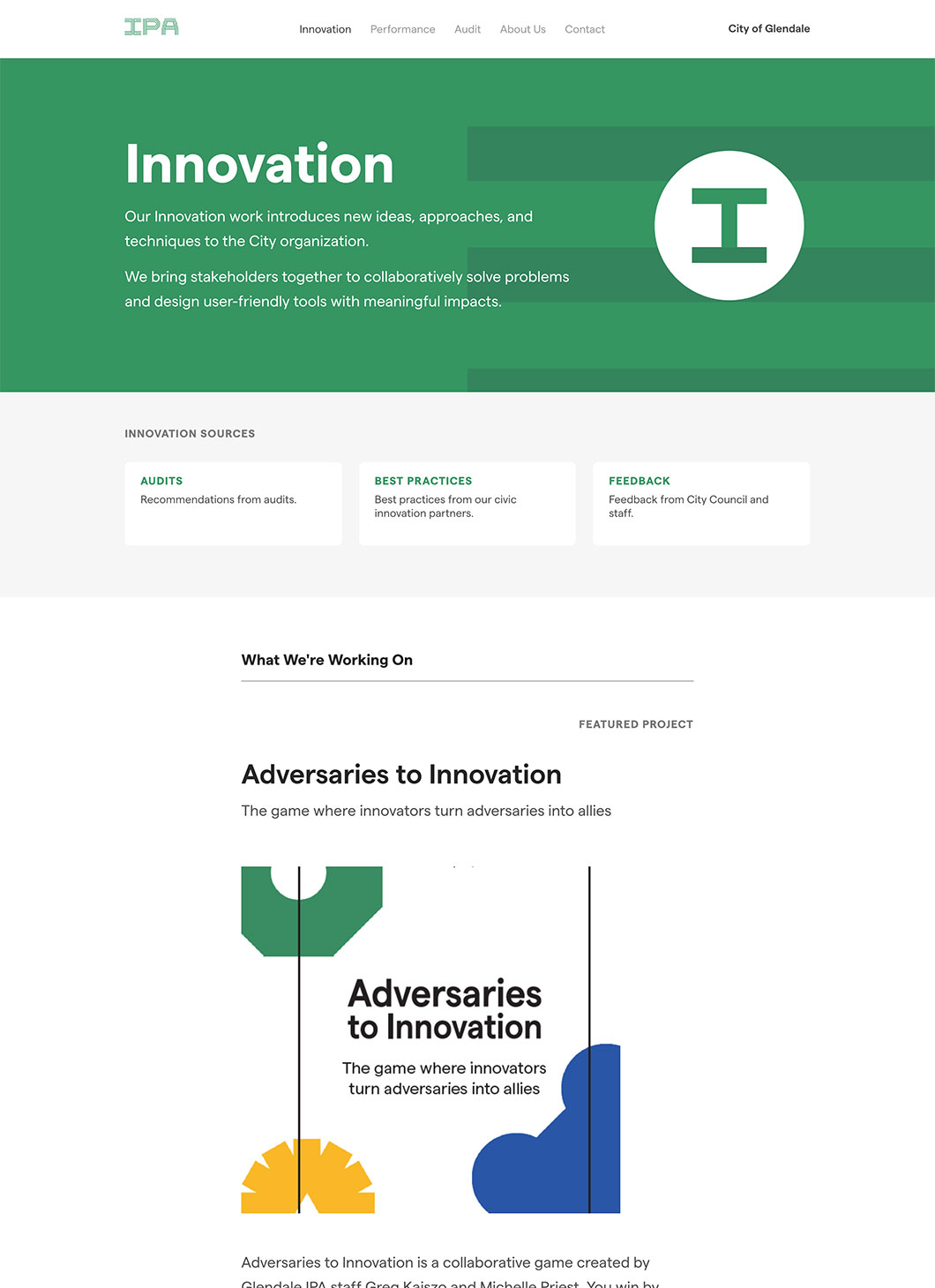 Screenshot of Glendale IPA Innovation custom WordPress template