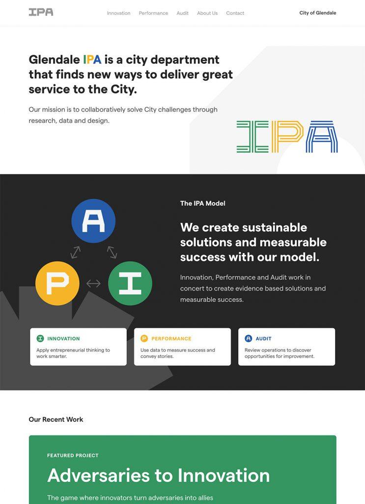 Screenshot of Glendale IPA custom WordPress homepage
