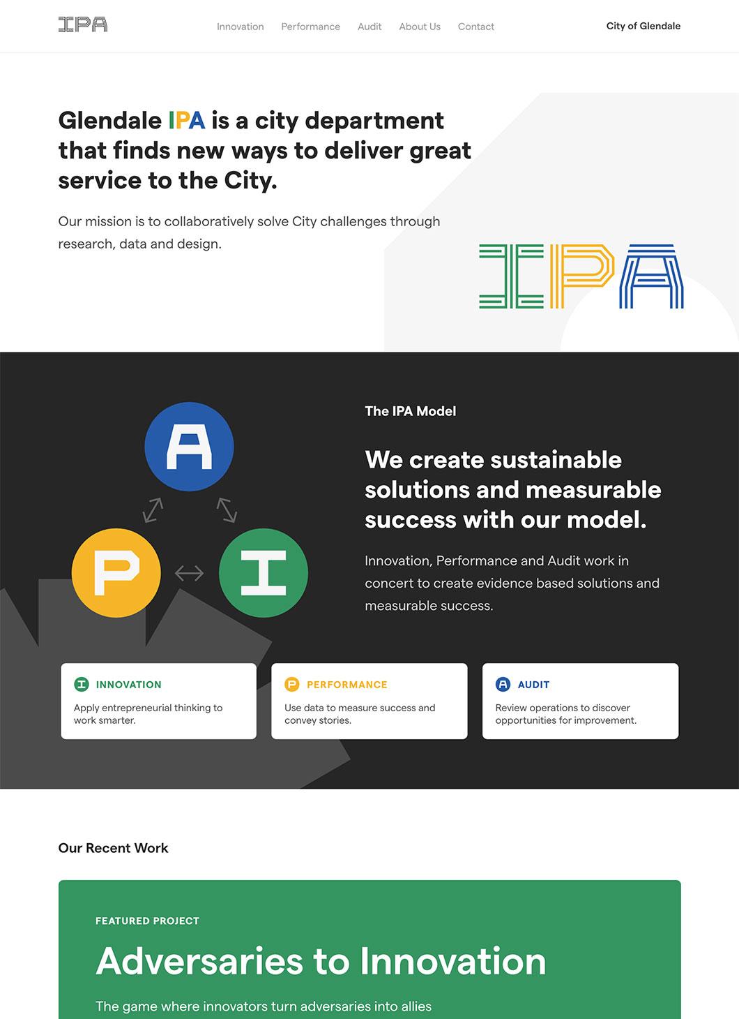Screenshot of Glendale IPA Homepage