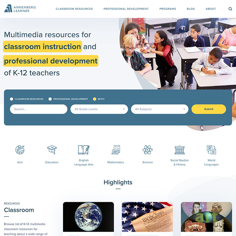 Screenshot of Annenberg Learner's custom WordPress homepage