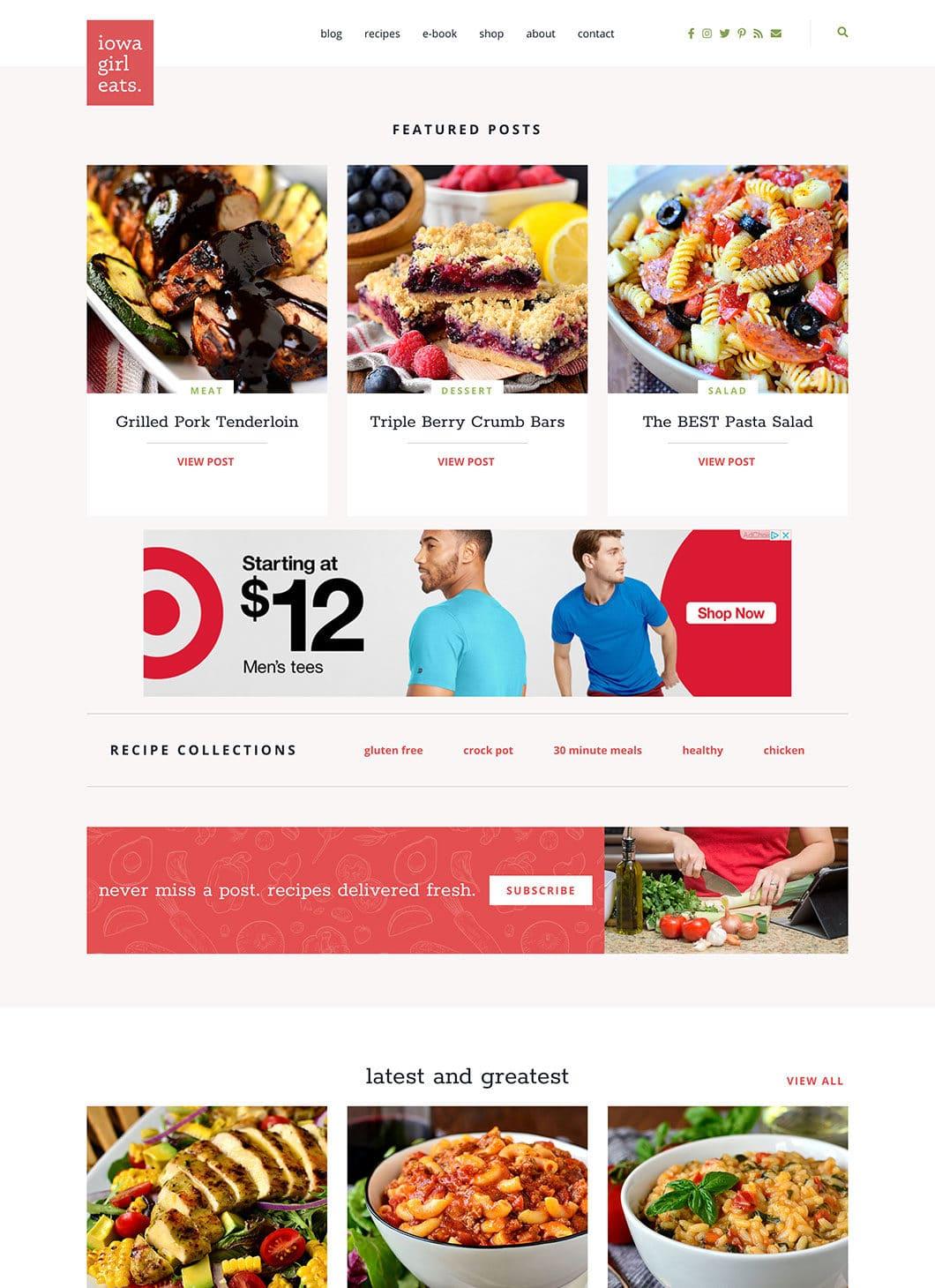 Screenshot of Iowa Girl Eats Homepage