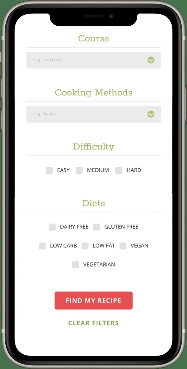 Screenshot of IGE mobile recipe filtering