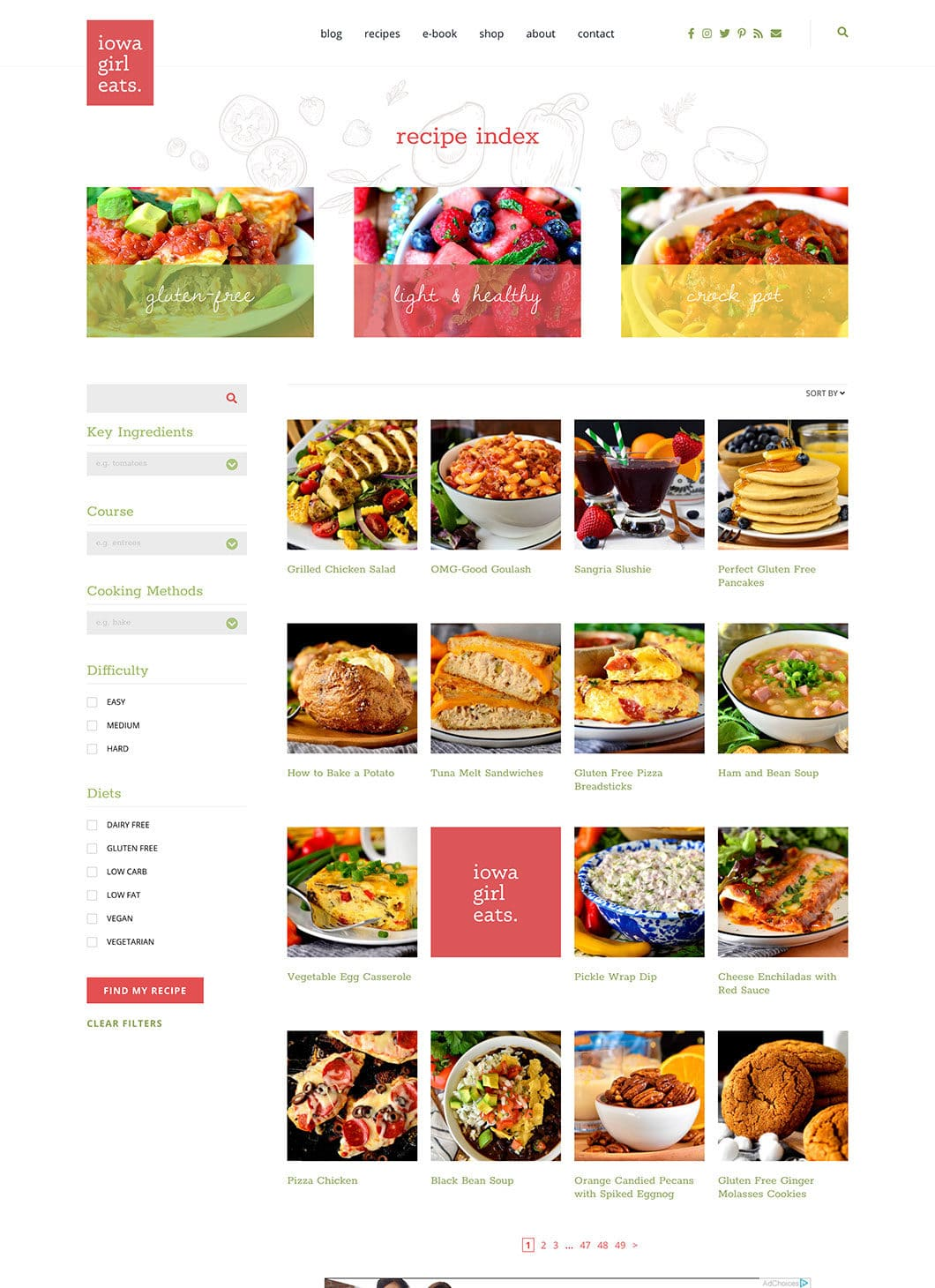 Screenshot of IGE Recipe Index