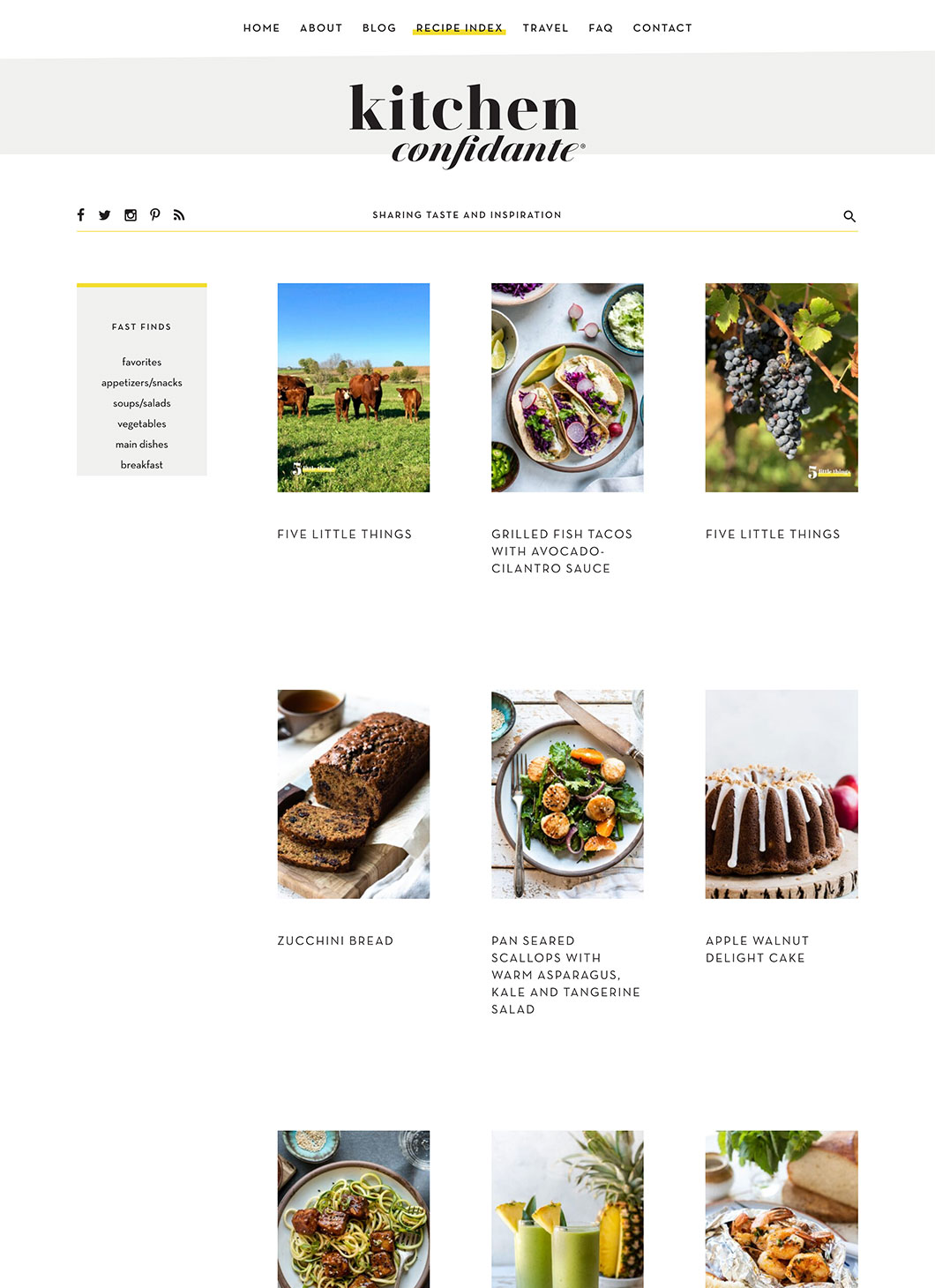 Screenshot of Kitchen Confidante Blog page
