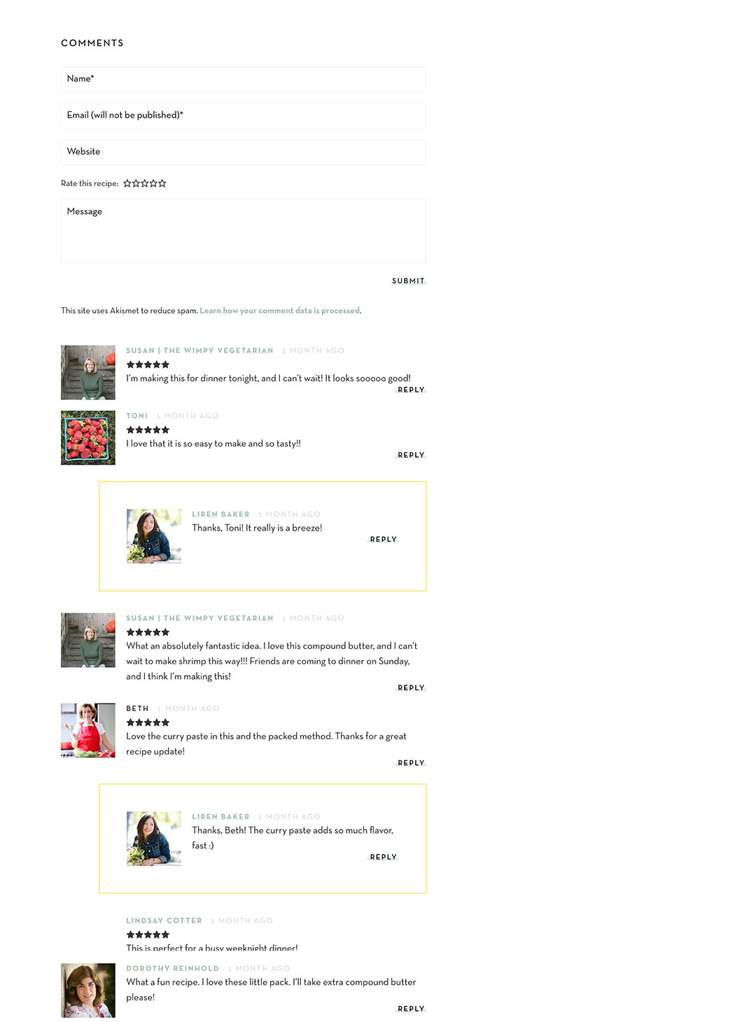 Screenshot of customized WordPress comments for Kitchen Confidante