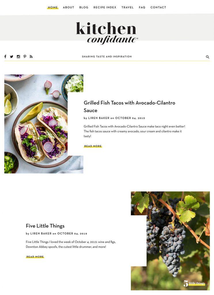 Screenshot of Kitchen Confidante's custom WordPress homepage