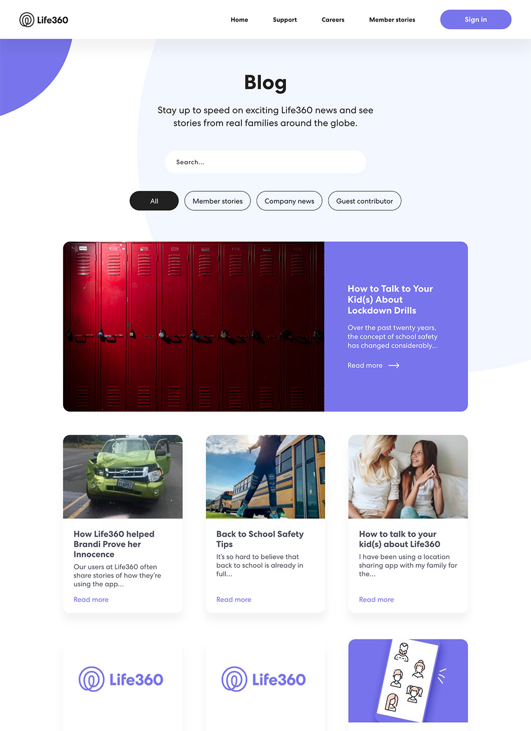 Screenshot of Life360 custom WordPress blog page