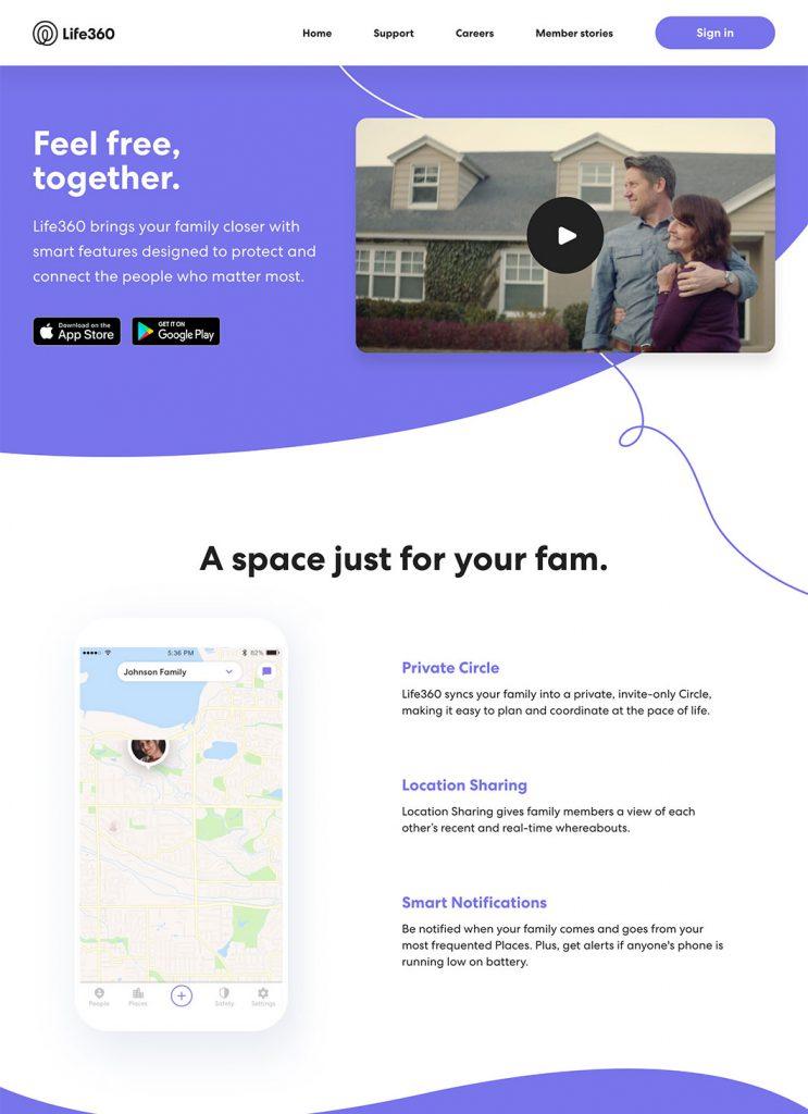 Screenshot of Life360 custom WordPress project's homepage