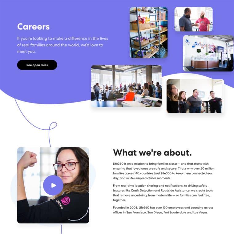 Screenshot of Life360 Careers custom WordPress template