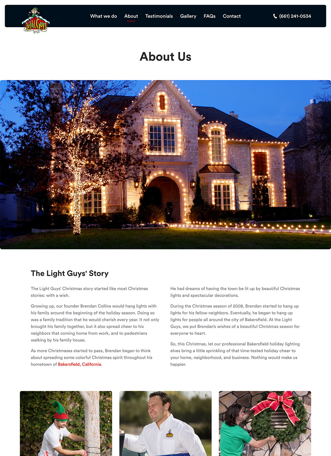 Screenshot of The Light Guys About custom WordPress template