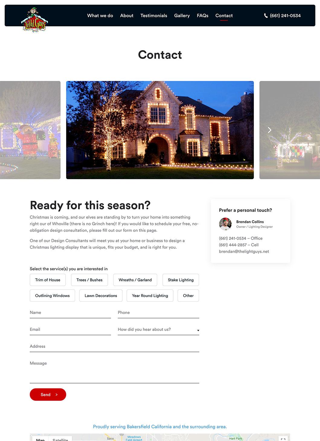 Screenshot of The Light Guys Contact custom WordPress template