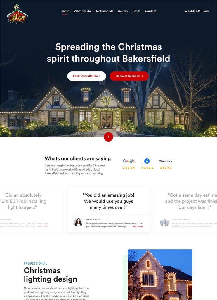 Screenshot of Light Guys' custom WordPress homepage