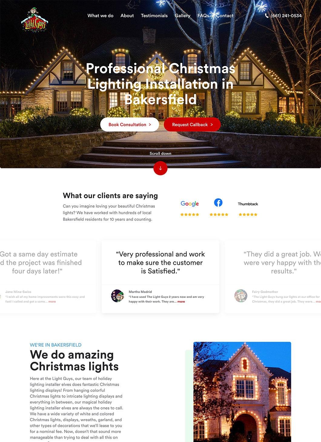 Screenshot of The Light Guys homepage