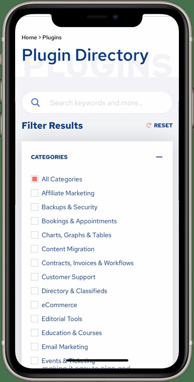 Screenshot of mobile Premium Plugins plugin directory page