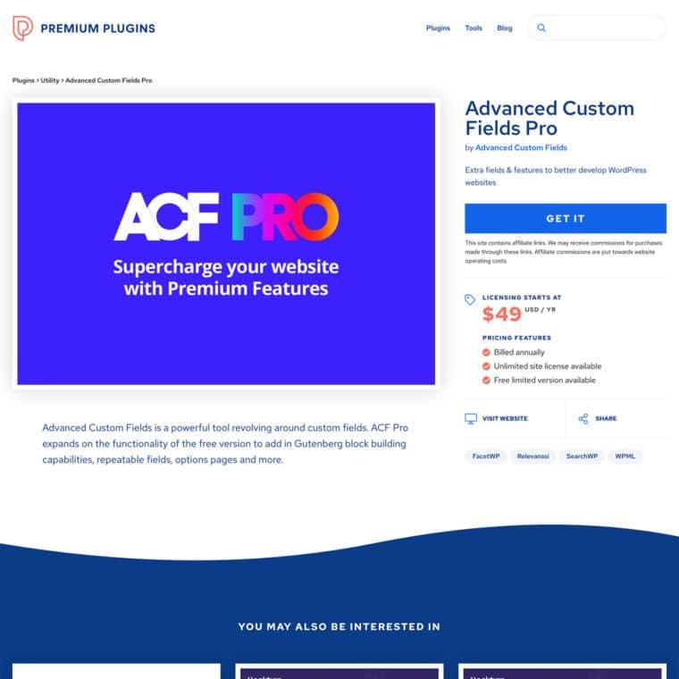 Screenshot of Premium Plugins custom WordPress plugin detail template