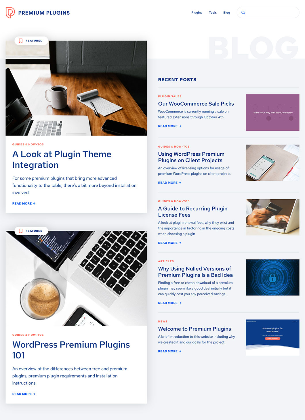 Screenshot of Premium Plugins Blog custom WordPress page