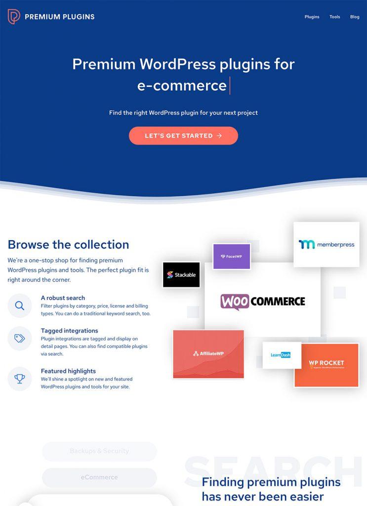 Screenshot of Premium Plugins custom WordPress project's homepage