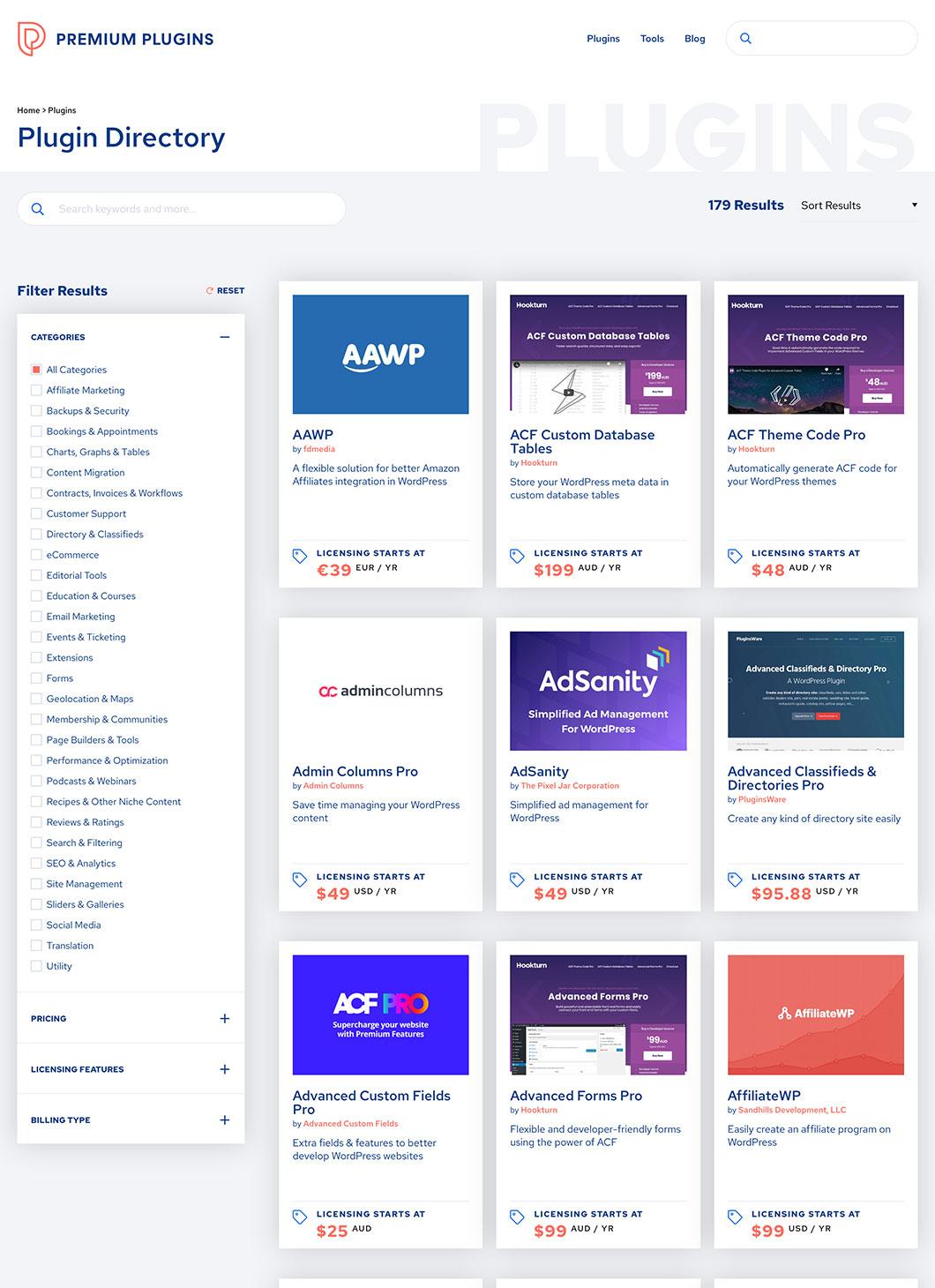 Screenshot of Premium Plugins Directory custom WordPress page