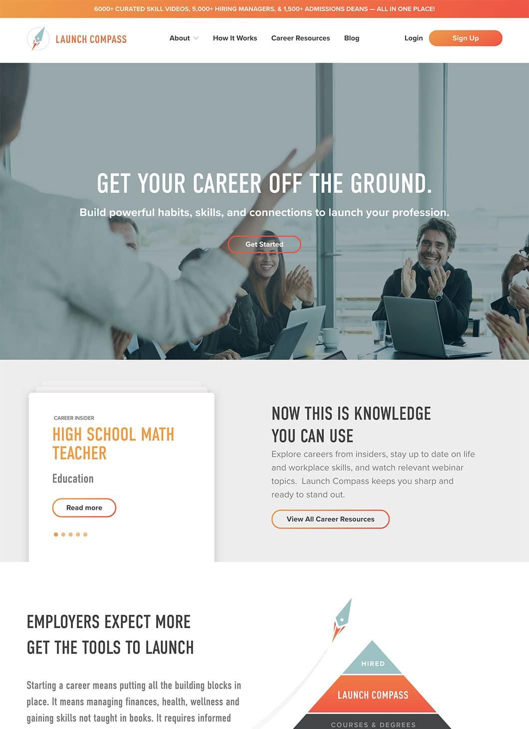 Screenshot of Launch Compass Homepage