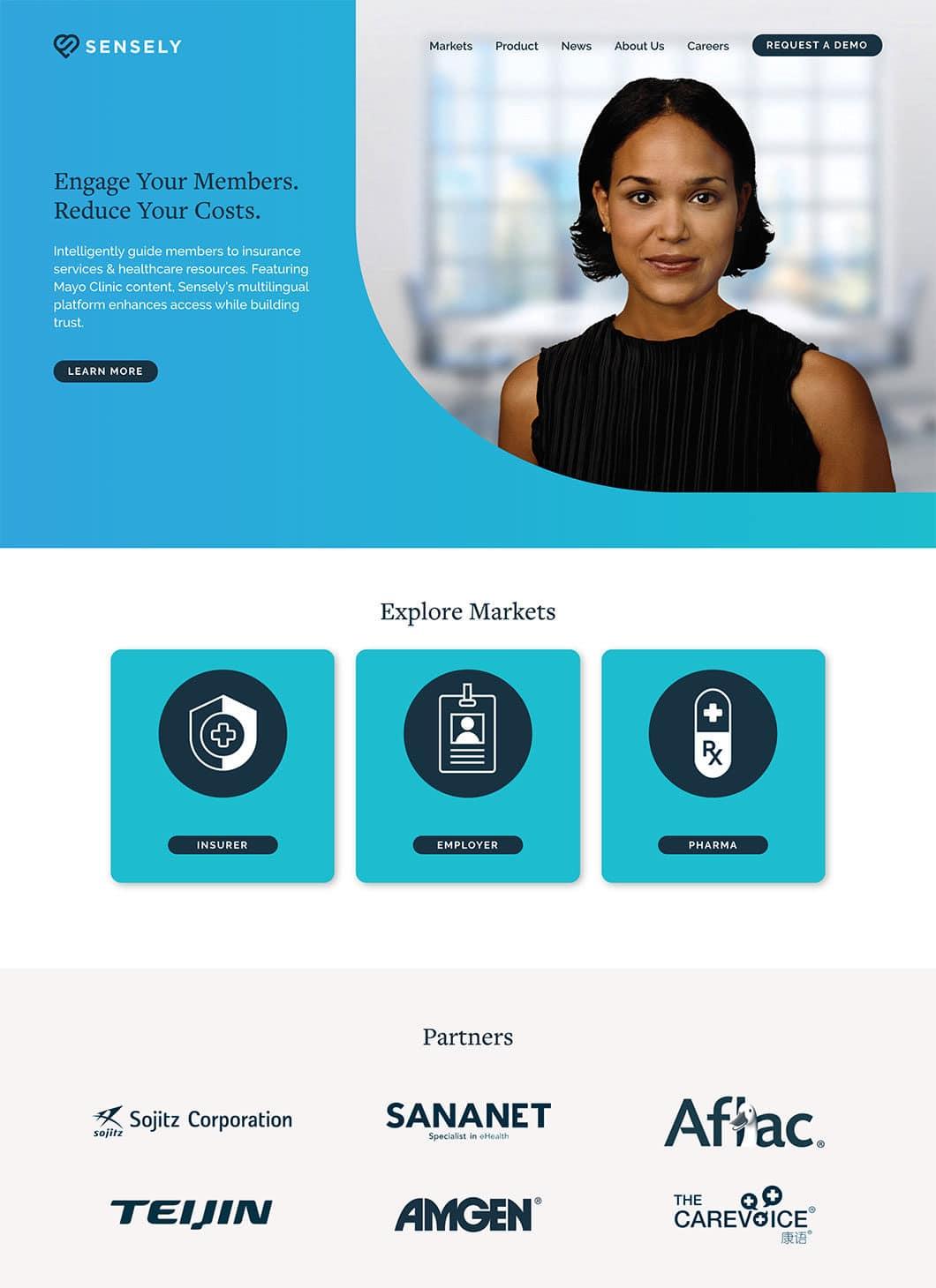 Screenshot of Sensely Homepage