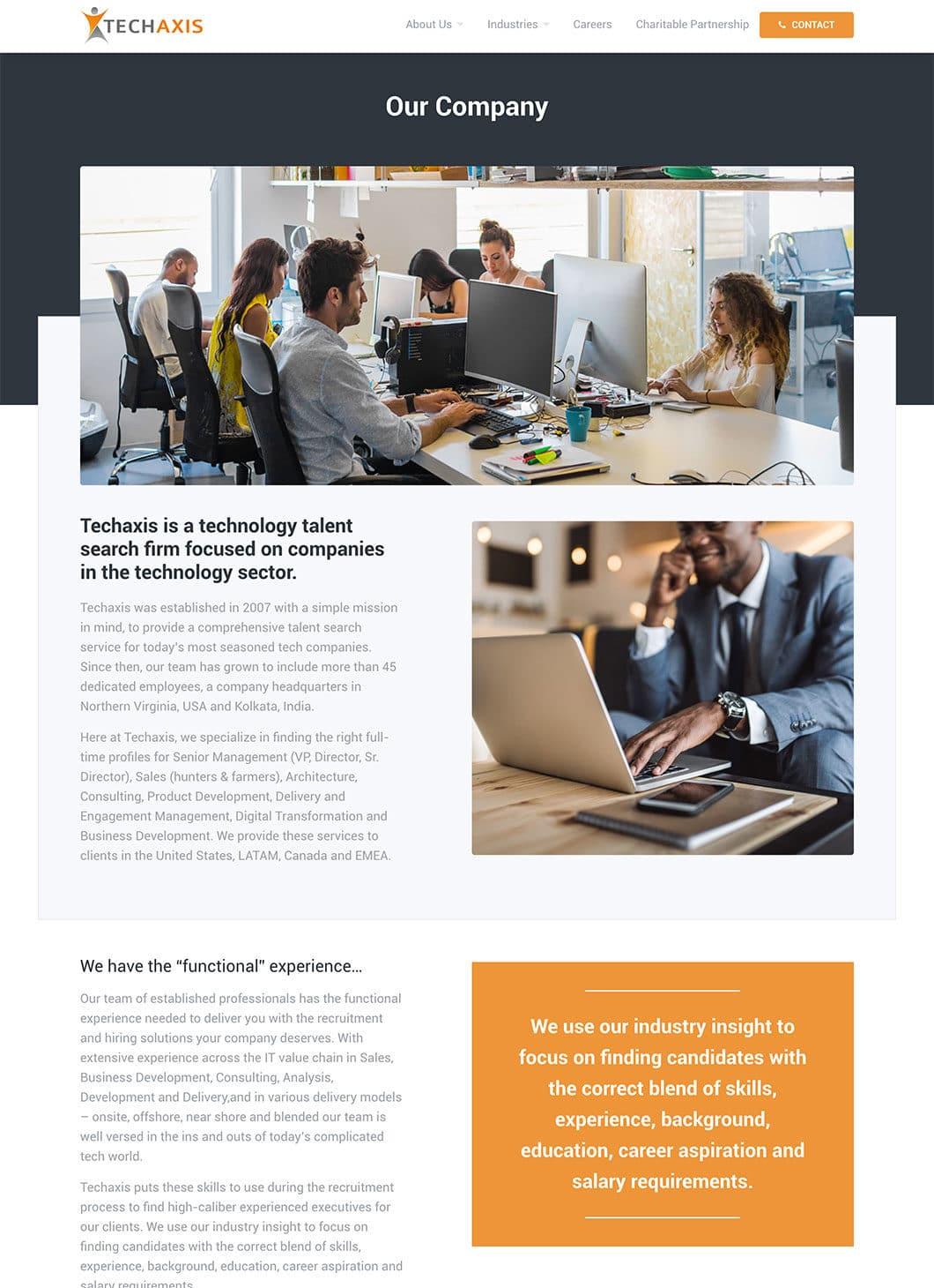 Screenshot of Techaxis Company custom WordPress template