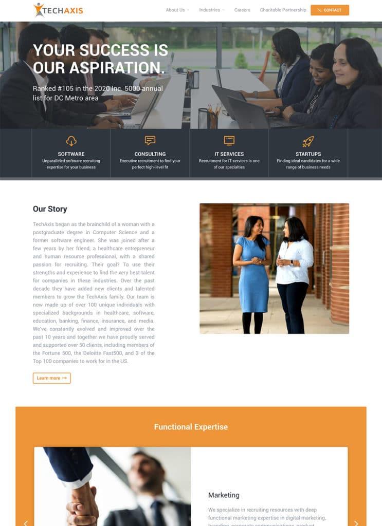 Screenshot of Techaxis custom WordPress website homepage