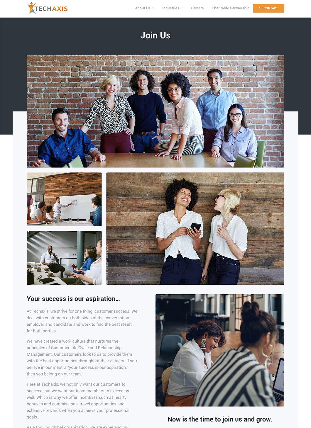 Screenshot of Techaxis Join Team custom WordPress template
